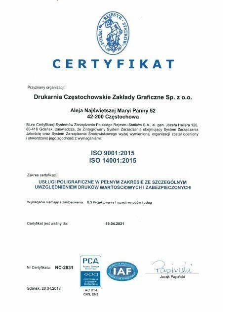 Zertifikate Drukarnia Częstochowskie Zakłady Graficzne Sp